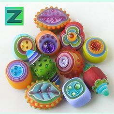 Colorblast Sampler  11 beads  lampwork by Sarah Moran by zbeads