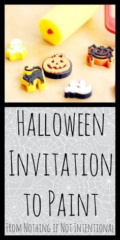 Halloween Art--Invitation to Create Using Edible/Baby Safe Paint.