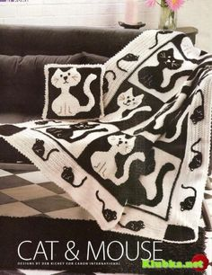 Cat and mouse afghan with diagram - filet work