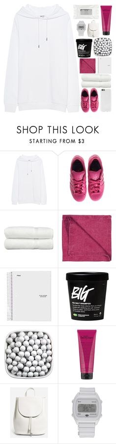 """i guess i'm back?"" by xo-ashlyn-ox ❤ liked on Polyvore featuring Acne Studios, adidas, Linum Home Textiles, LINUM, philosophy, Everlane and Stila"
