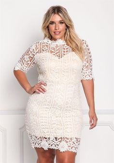 Plus Size Clothing | Plus Size Floral Lace Sweetheart Dress | Debshops