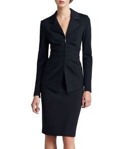 """Milano knit. High waist. Fitted, pencil style. 22""""L center back; hits at the knee. Pull-on style. Wool/rayon. Dry clean only. Imported of Italian materials."""