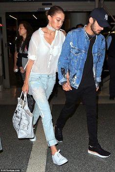 Gigi Hadid wearing Sandrine Rose the Vintage Embroidered Skinny Jeans in Alamos…