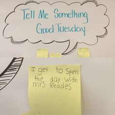 Found this little gem among today's Tell Me Something Good Tuesday messages… Classroom Fun, Future Classroom, Classroom Organization, Tell Me Something Good, Morning Board, Morning Activities, Daily Writing Prompts, Responsive Classroom, Classroom Community