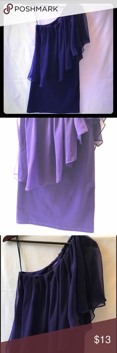 One Shoulder Dress Here's the party dress you've been looking for! Beautiful purple with just enough stretch to show off the curves! Approximately 35 inches from top of the shoulder to bottom of hem {1} Forever 21 Dresses