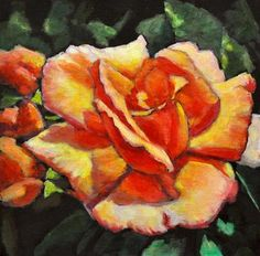 "Daily Paintworks - ""Peach Rose Glows 3"" - Original Fine Art for Sale - © Eileen Fong"