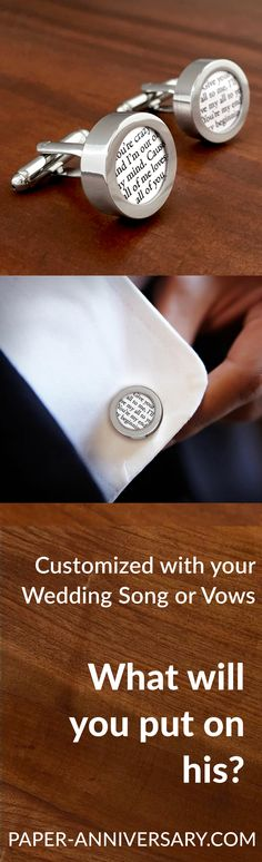 "What a timeless anniversary gift for him- Custom cufflinks & tie clip with your wedding vows or song. Paper Anniversary® by Anna V will work with you to create this sentimental gift that your husband will keep forever. Perfect idea for your first ""paper"" anniversary. Design his gift today and get FREE customization!"