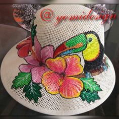 Sombreros Tole Painting, Fabric Painting, Painting On Wood, Painted Hats, Hand Painted, Diy Shorts, Fancy Hats, Diy Hat, Summer Accessories