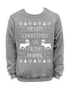 1339e0453ff Merry Christmas Ya Filthy Animal- Ugly Christmas Sweater - Gray Mens CREW Mens  Christmas Jumper