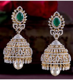 Explore the beautiful Diamond Jhumka style Earrings at Krishna Jewellers, Pearls and Gems. We Have a legacy of 36 years in Jewellery Industry. Diamond Earrings Indian, Diamond Jhumkas, Gold Jhumka Earrings, Diamond Jewelry, Pearl Jhumkas, Gold Jewelry, Cuff Jewelry, Bridal Earrings, Pearl Necklace Designs