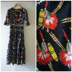 Vintage 1950s Novelty Print Tribal Tiki Long Dress by Cabinet49