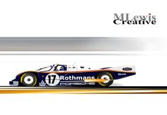 """COLOR STUCK"" Hans Stuck flat out in the Rothmans Porsche 962.   Original Art by MLewis"