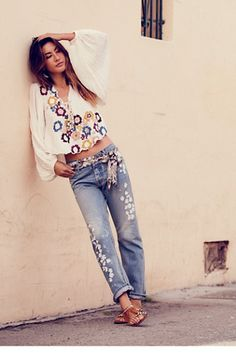 Spring Trails Boyfriend | Free people American made boyfriend jeans featuring flower-child-inspired floral embroidery for a vintage look.