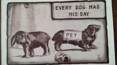 Antique comic Dog postcard Dachshund, terrier by PUGHALLVINTAGE on Etsy