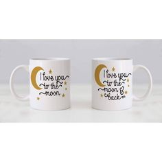 """Coffee Mug Set """"I Love You to the Moon"""" & """"I Love you to the Moon and back"""". Makes great gift for bride & groom, anniversary gift, ❤ ABOUT JOYFUL MOOSE MUGS ❤- Ceramic Coffee Mugs are available in both 11 oz. and Large 15 oz.- Dishwasher and Microwave safe- Designs are printed on both sides of the coffee mugBlessings, Julie & The Rest of the Joyful Moose FamilyJoyful Moose items are custom made in the mountains of Idaho Coffee Mug Sets, Mugs Set, Moose Mug, Bride Gifts, Custom Mugs, Idaho, Joyful, Bride Groom, I Love You"""