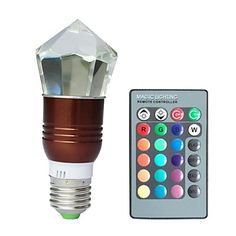 jiawen® e27 3w rgb 16 colores cristal llevó el bulbo con mando a distancia (ac 100-220V) 1772378 2016 – €18.99