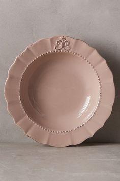 Fleur De Lys Soup Bowl  #anthropologie  Love the blush colored bowl