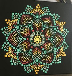 Hand Made Dotted mandala painting This is a one of a kind item in that even if I paint another similar one it will never be the same. This is hand painted one dot at a time. Mandala Canvas, Mandala Artwork, Mandala Painting, Mandala Painted Rocks, Mandala Rocks, Seashell Painting, Dot Art Painting, Mandala Pattern, Mandala Design