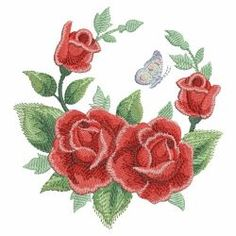Watercolor Red Roses 08(Sm) machine embroidery designs