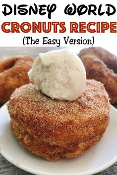 A super easy recipe for Disney World Cronuts Cheater Cronuts that will knock your socks off Layers of delicious puff pastry dough fried to perfection and covered in cinnamon and sugar Just like Epcot Disney Desserts, Köstliche Desserts, Delicious Desserts, Dessert Recipes, Yummy Food, Disney Food Recipes, Copycat Recipes Desserts, Smoothie Recipes, Gourmet Recipes