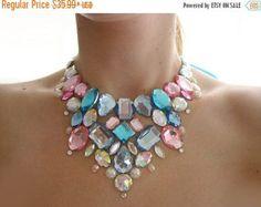 ON SALE Pastel Pink Rhinestone Bib Necklace by SparkleBeastDesign