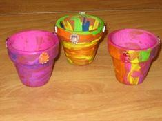 Bloempotjes beschilderen/versieren met theelichtje/waxinelichtje