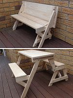 kids size 2-in-one bench and picnic table