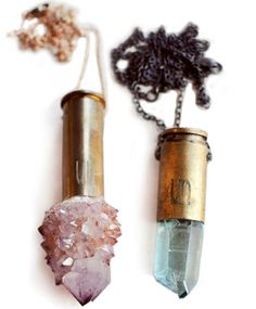 Crystal bullet case necklace