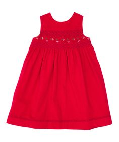 Berry Corduroy Smocked Sleeveless Dress - Infant, Toddler & Girls | Daily deals for moms, babies and kids