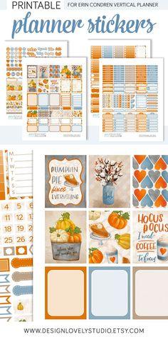 Halloween Planner Stickers, October Weekly Planner Kit, October Planner Kit, Fall Planner Stickers, fits Erin Condren Vertical, Download - Design Lovely Studio #eclp #planahead   #planwithme #erincondren #plannerstickers