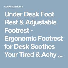 Under Desk Foot Rest & Adjustable Footrest - Ergonomic Footrest for Desk Soothes Your Tired & Achy Feet - Office Foot Rest Under Desk with Foot Massager (Charcoal Grey) - Best Footrests