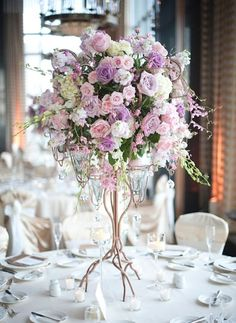 Beautiful and very romantic - love the pink and lavender roses. PERFECT for a spring wedding!