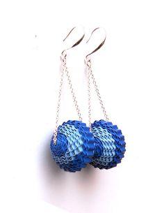 Blue earrings / Blue paper jewelry / Blue dangle earrings / Blue design Earrings / Striped paper earrings /  Blue chain earrings by BabelfishJewelry on Etsy https://www.etsy.com/listing/228202690/blue-earrings-blue-paper-jewelry-blue