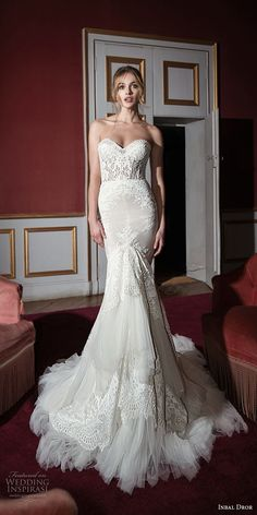 inba dror fall 2018 bridal strapless sweetheart neckline full embellishment elegant trumpet wedding dress chapel train (17) mv