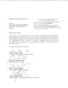 Carta de los partidos de minoría, independientes y oposición al presidente Santos Personalized Items, Presidents, Letters
