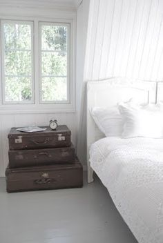 Vintage suitcases make an interesting focal point in your bedroom when used as a nightstand.