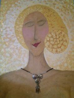 Dora...olej na dřevě...šperk z recyklovaných zátek od nápojů #oil #painting #wood #jewelry #portrait #girl #recycling #beerstopper