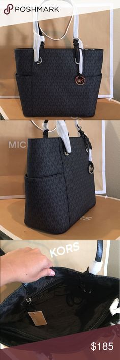 """🏝👜Michael Kors Jet Set Item EW Sig Tote Goldtone 🏝🌹100% Authentic Michael Kors Jet Set Item East West Signature Tote, Goldtone🌹👑👜 interior pockets will keep small essentials organized. Dual adjustable shoulder straps and open top. Protective feet on bottom. Interior features backwall zip pocket, multifunction slip pockets and key fob.   Specifications MaterialMK Signature OriginImported Dimensions15.5"""" x 11"""" x 5.75"""" 8"""" DROP Care & CleaningSpot clean with damp cloth FeaturesOpen top…"""