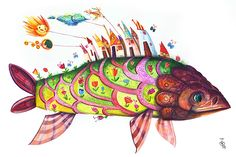 Fish Legends on Behance Watercolor Illustration, Watercolour, Rooster, Turtle, Behance, Fish, Legends, Paintings, Animals