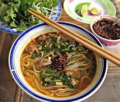 You've heard of pho; now it's time to try its spicer cousin, bun bo hue. You've heard of pho; now it's time to try its spicer cousin, bun bo hue. Ayurveda, Vietnamese Soup, Vietnamese Cuisine, Bo Bun, Pork Hock, Savory Pancakes, Asian Recipes, Ethnic Recipes, Hot Soup