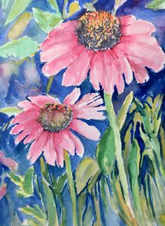 Watercolor Coneflower Pink Original Painting Cottage Wall Decor Floral Carlie DeGaetano by CarlottasArt on Etsy