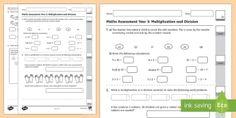 Year 3 Maths Assessment Number Multiplication and Division Assessment Pack - year 3, multiplication, division, assessment,Australia