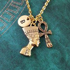 Nefertiti Necklace Ankh Necklace Custom Necklace by MetalSpeak