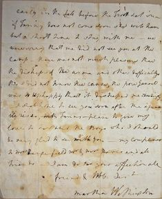 A final page of one of Martha Washington's few remaining letters to her husband, written during the American Revolution (Morristown National Historic Park)