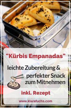 Pumpkin goat cheese empanadas – recipe – Klara Fuchs – Famous Last Words Quick Healthy Snacks, Yummy Snacks, Yummy Food, Healthy Recipes, Yummy Yummy, Diy Snacks, Snacks For Work, Latin Food, Tostadas