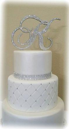 Monogram Wedding Cake Topper Crystal Initial by EnchantingMoment Fake Wedding Cakes, Wedding Cake Prices, Fondant Wedding Cakes, Elegant Wedding Cakes, Beautiful Wedding Cakes, Wedding Cupcakes, Cake Fondant, 3 Teir Wedding Cake, Elegant Cakes