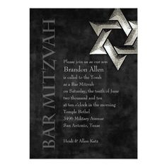 Bar Mitzvah Stylish Black Star of David 5x7 Paper Invitation Card