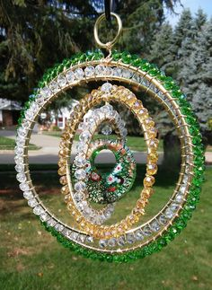 Sun catcher Spinning reflections - Green by GardenBlingbyKristin on Etsy
