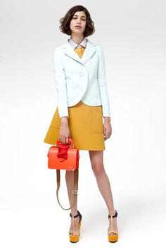 Carven Resort 2013 // t-straps, buttoned up, mustard touches