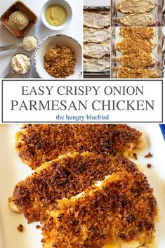 Easy and juicy baked chicken made with mayonnaise, parmesan and canned fried onions, on the table in 30 minutes. Juicy Baked Chicken, Baked Chicken Breast, Baked Fish, Baked Onions, Crispy Onions, Chicken Parmesan Recipes, Crusted Chicken, Best Dinner Recipes, Fish Recipes